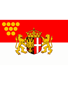 Flag: Neuss | Das Wappen der Stadt Neuss zeigt auf einem von Schwarz und Rot gespaltenen Schild im schwarzen  linken  Feld einen rot bewehrten