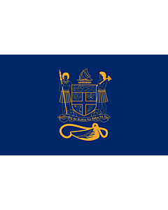 Flag: Standard of the President of Fiji bearing the full Coat of Arms of Fiji and a traditional Knot and Whale s tooth in Golden-Yellow