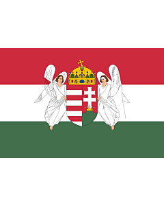 Flag: A variant of the flag of the Kingdom of Hungary used between 6 November 1915 to 29 November 1918