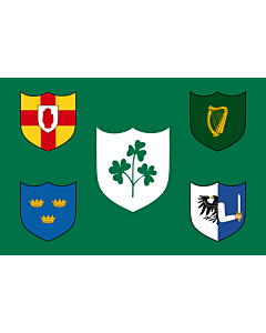 Flag: IRFU flag first made public in 1925, comprised of the traditional four provinces of Ireland shields and other older elements