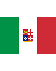 Flag: Civil Ensign of Italy | Italy used by Italy current since 9 November 1947 created by format 2 3 shape rectangular colours see included flag other characteristics naval ensign Civil naval flag of Italy  the military naval flag differs from this one i