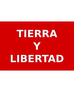 Flag: Partido Liberal Mexicano   Roja con el lema  Tierra y Libertad  en letras blancas usada por los guerrilleros del Partido Liberal Mexicano durante la Revolución Mexicana