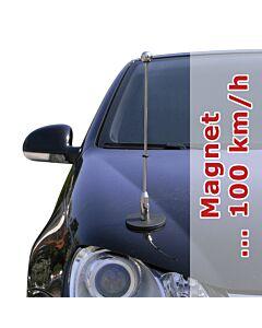 Magnetic Car Flag Pole Diplomat-1-Chrome