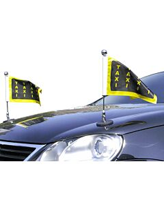 Pair  Magnetic Car Flag Pole Diplomat-1.30-Chrome with customized printed flag
